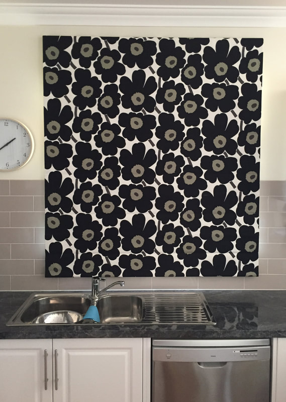 Gorgeous kitchen Roman blind with fabric from Marimekko - by Eureka B&C