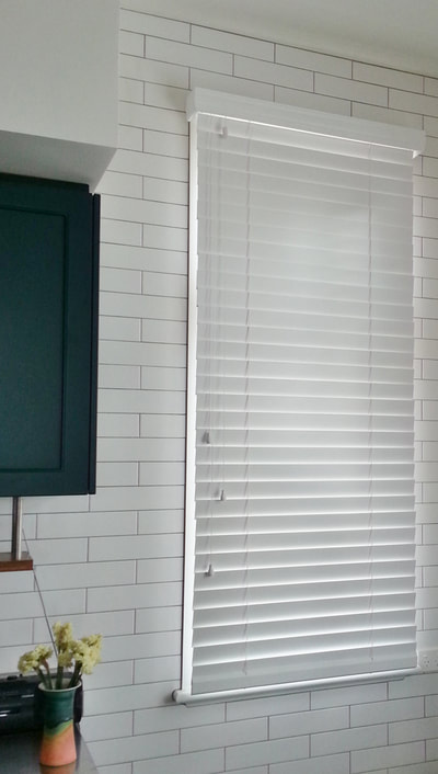 Premium Timber Venetian blinds with 63mm slats and decorative valance closed